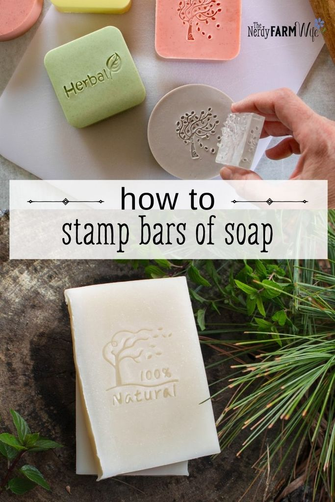 """woman's hand stamping bars of soap; text says """"how to stamp bars of soap"""""""